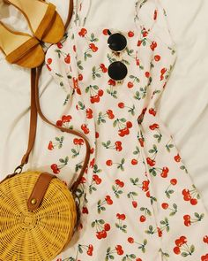 Spaghetti Straps Dress with Cherries Prints Adjustable Straps 2 Mini slits down the front Straight Cut Dress Polyester material Straight Cut Dress, Weekend Outfit, Spaghetti Strap Dresses, Cherries, Outfit Of The Day, Fashion Backpack, Summer Outfits, Ootd, Mini