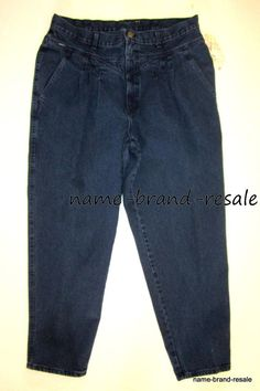 CHIC NWT NOS VTG Womens PLUS 24W Dark Denim Ankle Mom Jeans 90s PLEATED Tapered #Chic #90sStylePleatedAnkle