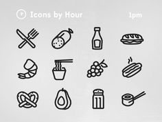 Latest collection for the 'Icons by Hour' project, focused around lunchtime.   Your can see the full set at www.iconsbyhour.co.uk/1pm.  Feedback always welcome :)