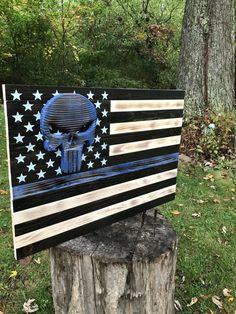American Flag - Wood American Flag - Blue Line Flag - Leo - Thin Blue Line - Rustic Flag - Patriotic Art - Wooden Flag - US Flag - Police by JWCraftsmanStore on Etsy American Flag Blue Line, Wooden American Flag, Thin Blue Line Flag, Wooden Flag, Thin Blue Lines, Wood Shop Projects, Pallet Projects, Diy Projects, Cornhole Designs
