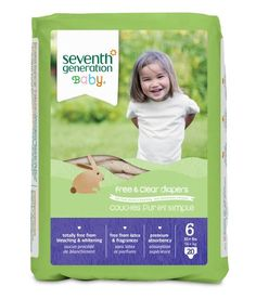 Seventh Generation Free and Clear, Unbleached Baby Diapers, Size 6, 100 Count