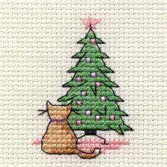 Christmas Cat Studying Tree Mini Cross Stitch Kit 6.4 cm