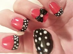 Polka dots and Bows Nail Design - By Grace Kingsley