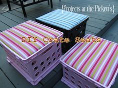 DIY crate seats with removable tops for storage. Looking forward to making these for my classroom :)