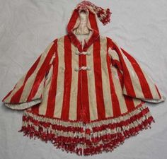 Early Skate Cape circa 1850 red white striped velvet
