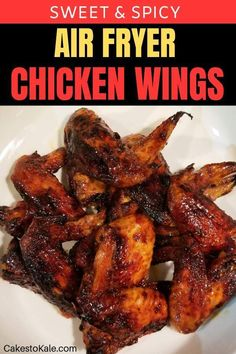 Chicken wings made in the air fryer. Crispy, sweet and spicy chicken wing recipe. Chicken wings made in the air fryer. Crispy, sweet and spicy chicken wing recipe. Air Fryer Recipes Appetizers, Air Fryer Recipes Breakfast, Air Fryer Dinner Recipes, Air Fryer Recipes Easy, Easy Recipes, Healthy Recipes, Oven Recipes, Recipes Dinner, Dinner Ideas