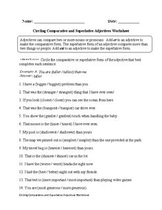 Comparative and Superlative Adjectives | Worksheets and Articles