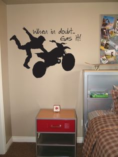 Motocross Vinyl Wall Decal - When In Doubt, Gas It - Lettering Graphic Dirt Bike. $28.00, via Etsy.