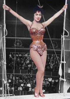 Gina Lolobrigida in the circus drama Trapeze directed by Carol Reed with Burt Lancaster and Tony Curtis in 1956.
