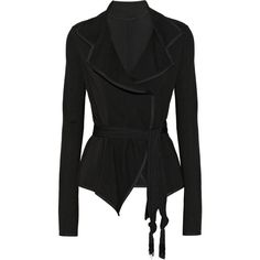 Donna Karan New York Modern Icons belted stretch-ponte jacket ($420) ❤ liked on Polyvore featuring outerwear, jackets, coats, tops, blazer, black, donna karan jacket, ponte jacket, lightweight jackets and donna karan