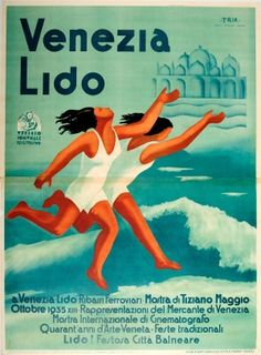 Venezia Lido Italian Futurism Futurismo 1935 - original vintage poster by TRIA (a group of Italian artists: Edmondo Bacci, Gino Morandis, Luciano Gaspari) for Venice Lido listed on AntikBar.co.uk