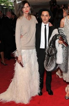 Jenna Lyons: Met Gala. Oversize cashmere sweater with floor length feather skirt.