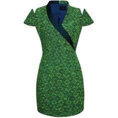 Scythe Capped Dress ($149) ❤ liked on Polyvore featuring dresses, wrap dress, slim fit dress, green dress, slit dress and slimming dresses