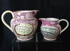Antique Staffordshire Sunderland pink splash luster pitcher, creamer 1820s-1840s