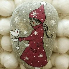 Winter Girl - painted stone miniature art, gift for Christmas FREE POSTAGE NETHERLANDS
