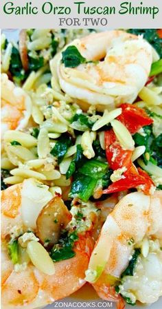 Garlic Orzo Tuscan Shrimp for Two - is coated in a light and creamy Parmesan cheese sauce filled with garlic, sun dried tomatoes, baby bella mushrooms, onion and spinach! This seafood dish has really great flavor and the majority of it (other than cooking Orzo Recipes, Shrimp Recipes, Fish Recipes, Baby Food Recipes, Dinner Recipes, Cooking Recipes, Healthy Recipes, Gourmet Cooking, Family Recipes