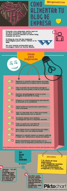 Cómo alimentar tu blog de empresa #infografia Social Media Digital Marketing, Seo Marketing, Content Marketing, Internet Marketing, Online Marketing, Content Manager, Blogging, Social Entrepreneurship, Social Enterprise