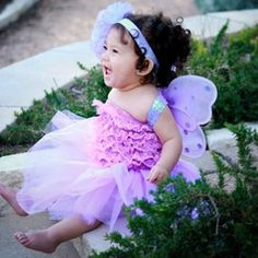 Baby Tutu with Fairy Wings and Headband in Purple. www.teeliesfairygarden.com . . . This baby tutu will truly turn your little princess into her favorite Princess Fairy! It's comfortable, sparkly and 100 percent cute! #fairycostumes