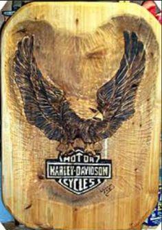 "Harley relief carving 3"" deep in wood"