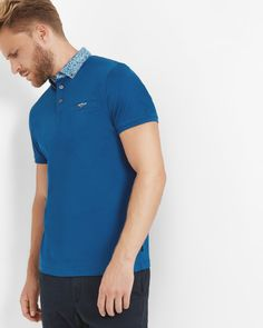 Floral collar cotton polo shirt - Mid Blue | Tops & T-shirts | Ted Baker