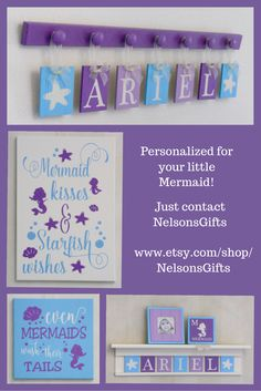 Add a personalized touch of class to your babies nursery with this Purples and Aqua under the sea ocean, starfish, mermaid, seahorse - baby girl's nautical theme wall art by NelsonsGifts