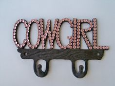 Pink Cowgirl Sparkle on Brown Metal Wall Decor with Hooks Western Cowgirl Bling.