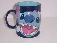 Disney Store Stitch Big Blue Coffee Coca Tea Mug NEW Retired