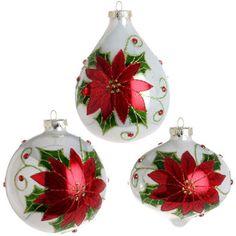 5 inch Poinsettia Ornament Z