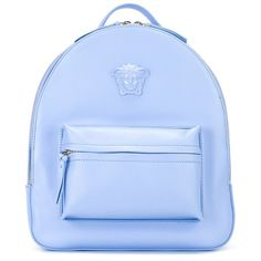 Versace Palazzo Medusa Chain Trim Backpack (5.626.290 COP) ❤ liked on Polyvore featuring bags, backpacks, blue, versace bags, zipper bag, rucksack bag, versace and blue backpack