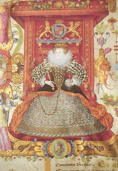 A detail of Elizabeth I on her throne, from theAshbourne Charter by Nicholas Hilliard, c.1585. Property of Queen Elizabeth's Grammer School, Ashbourne.