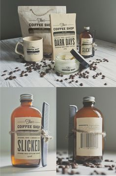 """Branding & retail packaging exercise by designer & illustrator Alex Westgate for a cool Toronto based shop.  """"The Coiffee Shop is a Cafe & Barber Shop which sells fine coffee & high quality, all natural, male grooming products."""" I love the idea & the design!        See for yourself --» {http://alexwestgate.com}"""