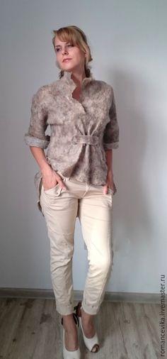 Пиджаки, жакеты ручной работы. Ярмарка Мастеров - ручная работа. Купить Туника, жакет, рубашка,  валяная. Handmade. валяная рубашка