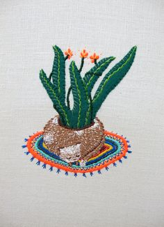 Cat Planter Embroidery