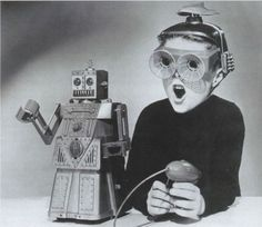 Boy with Toy Robot  1950s