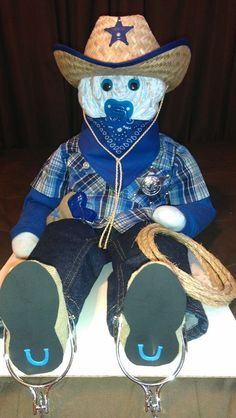 Cowboy diaper cake! Made by Momma T's Creative Delights! cowboy diaper cake, diaper cakes