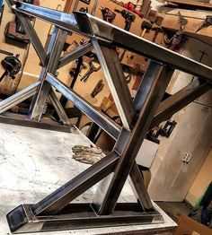 "434 Likes, 11 Comments - Schmidt's Furniture Design,Co. (@schmidts_furniture_design_co) on Instagram: ""This is more like ""Traditionally Modern"". It's an all steel dining room table base, that is going…"""