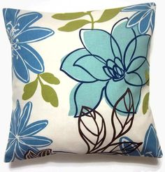 Blue Olive Brown Pillow Covers Floral Decorative 16 inch
