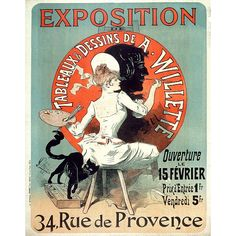 "Around the turn of the century, the ""Masters of Poster"" series detailed 256 prints which were considered the most beautiful of the Belle Epoque period. This print was included. It features a lady of society hard at work painting an advertisement, with her playful black cat joining in the fun. Whimsical, timeless, and printed in rich tones of red and green, this print makes a lovely gift for an artist or antique collector."