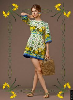 Look of the Day Dolce&Gabbana Fall 2014 Pre Collection Womenswear: Majolica and Lemons Print Brocade Dress