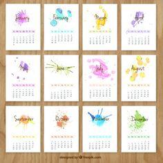 Calendario pintada a mano con pinceladas de acuarela Vector Gratis