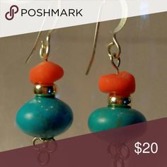 Handmade Turquoise and coral earrings. Beautiful sterling silver with coral and turquoise. Jewelry Earrings