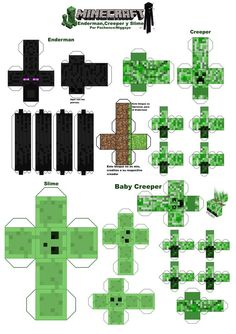 Minecraft+papercraft+creeper+printout