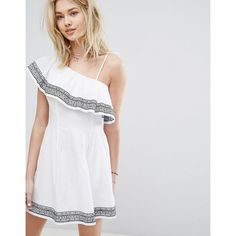 9e30ec6ef6d5b Abercrombie   Fitch One-Shouldered Ruffle Embroidered Dress (77 CAD) ❤  liked on