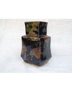 kanjiro Kawai _ Tiered vase _ iron oxide with kaki-splashes, c 1940