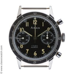 """Rare Airain French Army Helicopter pilot (ALAT) """"Type 20"""" flyback chronograph circa 1969 one of approximately 2,000 issued to the French Army from 1960 to 1980."""