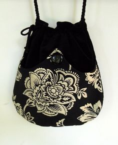 White Flower Tapestry Boho Bag  Black Drawstring Bag  Black Velvet Bag  Bohemian Bag  Crossbody Purse