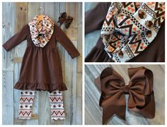 Aztec Turkey Scarf Set:  Preorder through 9/28/15 for 68% off retail!  Matching bow available as an add on to complete the look!