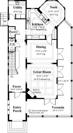 Key Largo Home Plan | Sater Design Collection | Luxury House Plans | Main Floor Plan