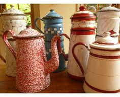 vintage French enamelware coffee pots: early-mid 1900s  I love my collection.