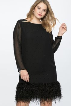Plus Size Black Shift Dress with Feather Hem -  This long sleeve shift dress is so fun with the addition of the feather hem. Think Little Black Dress - (LBD) Deigned specifically for women fitting plus sizes. A5 #PlusSizeDresses #getthelook #PlusSize #PlusSizeFashion #PlusSizeStyle #CurvyGirl #boldcurvyfashionista #curvesarein #curvesfordays #curvy #curvyfashionista #Fashion #Style #PlusSizeDresses